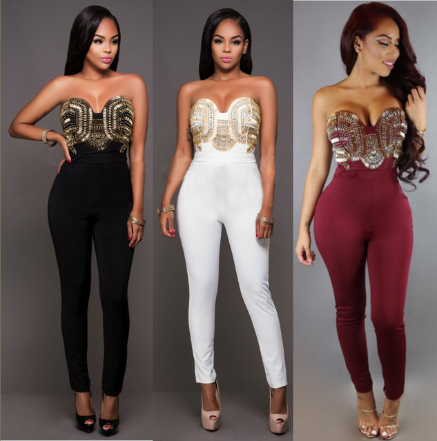 1bd15459e0 Womens Black Sequined Strapless Bodycon Sexy Jumpsuits Ladies Zipper  Clubwear Long Pants Trousers Body Suits