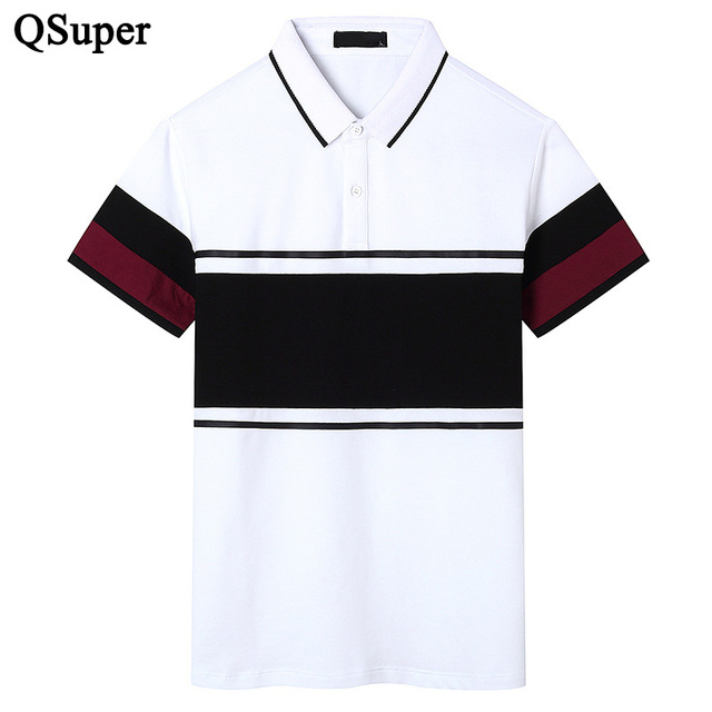 QSuper Новый Британский Стиль Мужчины Polo Рубашки Цвет Лоскутное С Коротким Рукавом Повседневная Slim Fit Хлопок Рубашка Люксовый Бренд Одежды