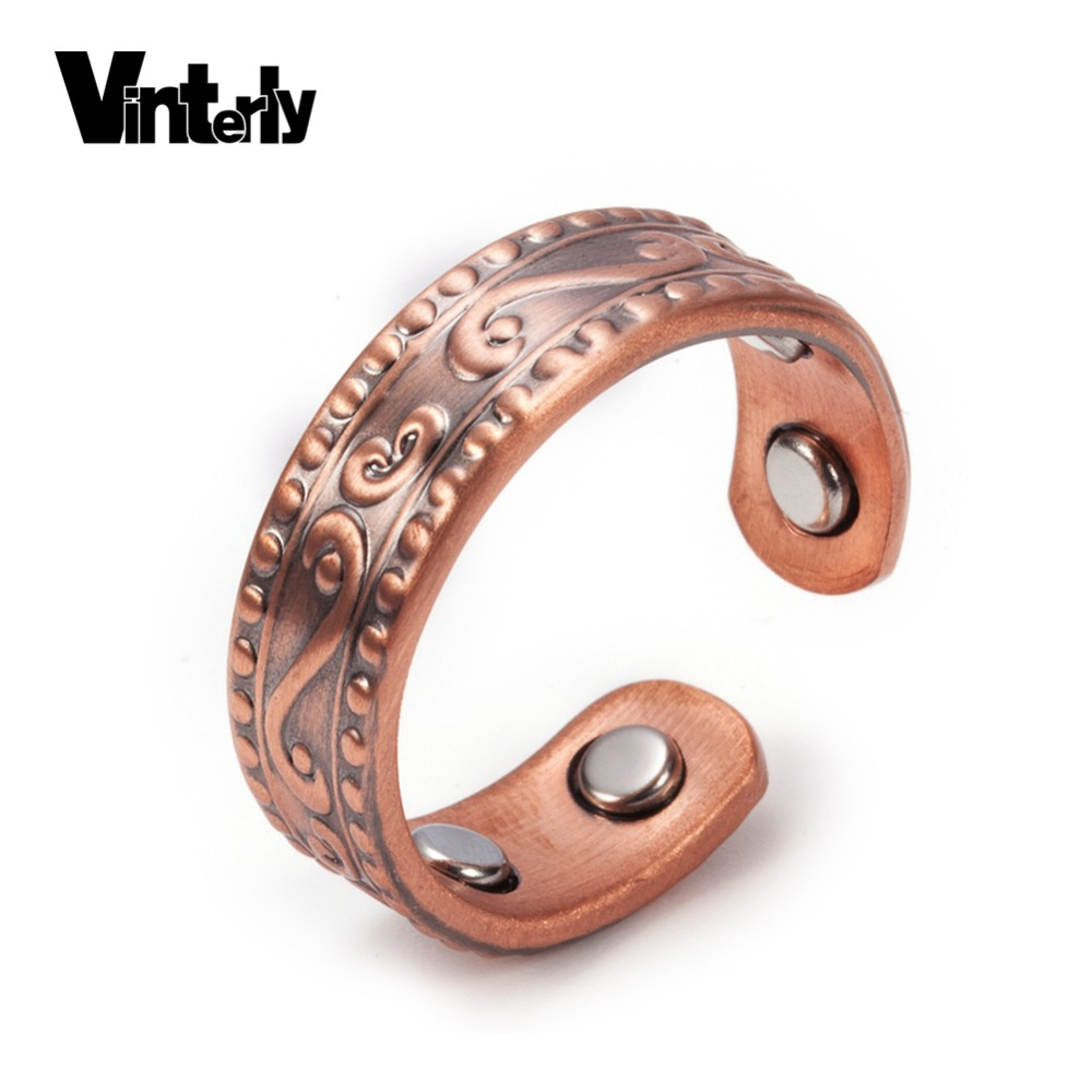 Vinterly Magnetic Pure Copper Rings For Men Women Vintage