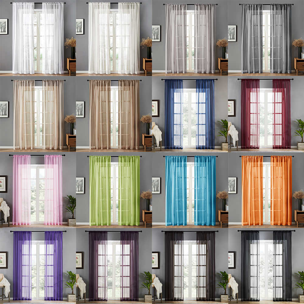 LISM Solid Withe Tulle Window Curtains For Living Room Bedroom The Kitchen Modern Sheer Voile Organza Curtains Finished Drapes