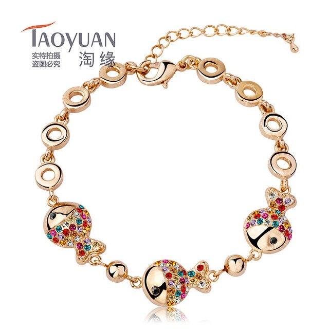 18cm+6cm fish bones colors Crystal Chain Bracelet Women Gold Plated Jewelry Bracelets Luxury jewelry Austria crystal bracelet