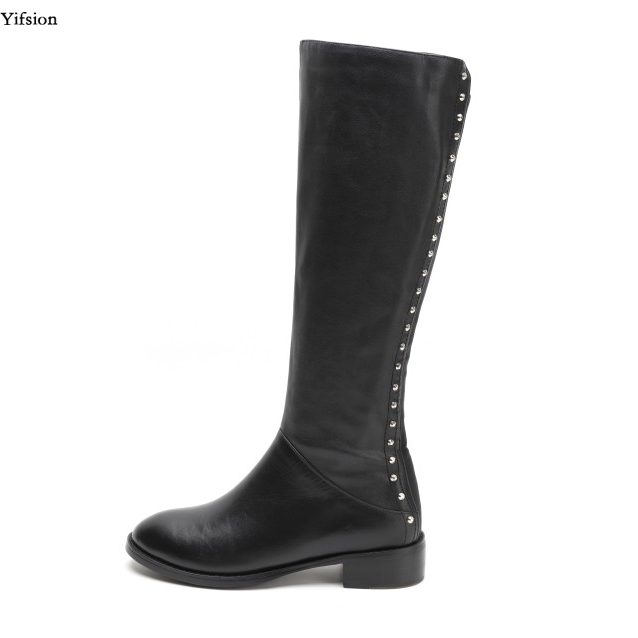 Olomm New Women Winter Knee High Leather Boots Square Low Heels Shoes Charm Round Toe Sexy Black Club Shoes Women US Size 3-9Olomm New Women Winter Knee High Leather Boots Square Low Heels Shoes Charm Round Toe Sexy Black Club Shoes Women US Size 3-9
