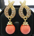 Hot selling free shipping******** Jewellery Beautiful Pink coral Earring