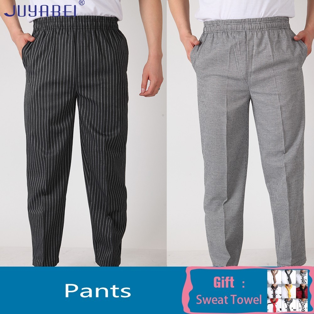 Unisex Elastic Belt Striped Chef Pants Summer Kitchen Cooking Uniform Restaurant Hotel Hair Salon Waiter Overalls And Pockets