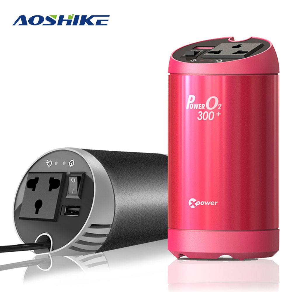 AOSHIKE Car Inverter 12V to 220V Air Purifier Auto Power Inverter Voltage Converter Regulator USB Car Charger Car Power Supply