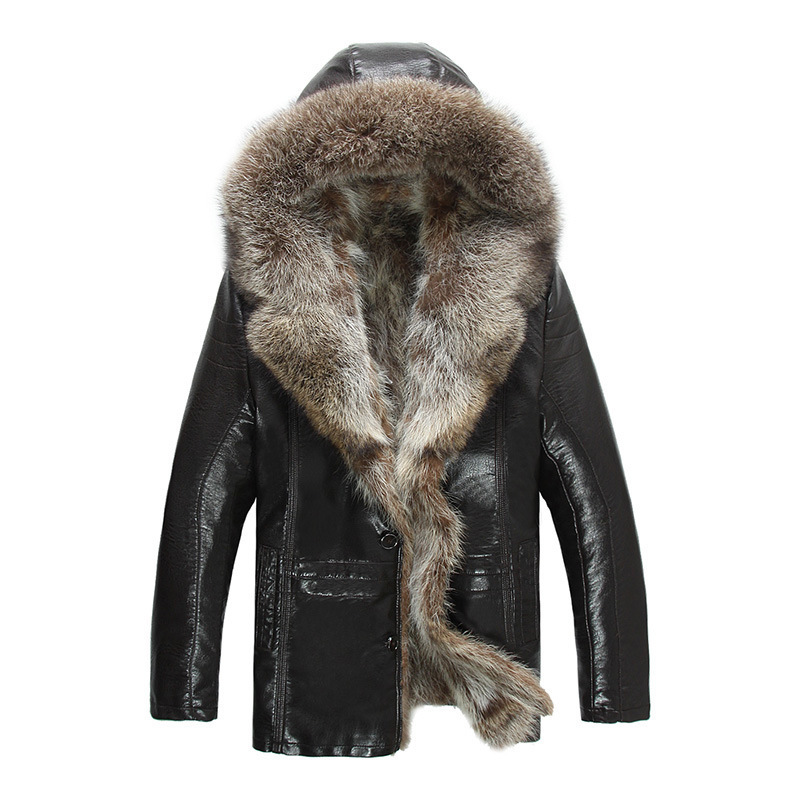 Mens Genuine Leather Jackets Real Raccoon Fur Coats Shearling Winter Coats Snow Clothes Warm Thicking Outwear Plus Size 4XL 5XL(China)