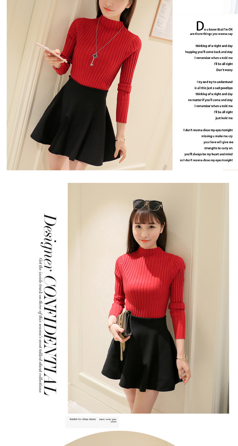 19 Autumn and winter New Korean Half turtleneck Sweater jacket Womens Long Sleeve Set head All-match knitted Sweater woman 31
