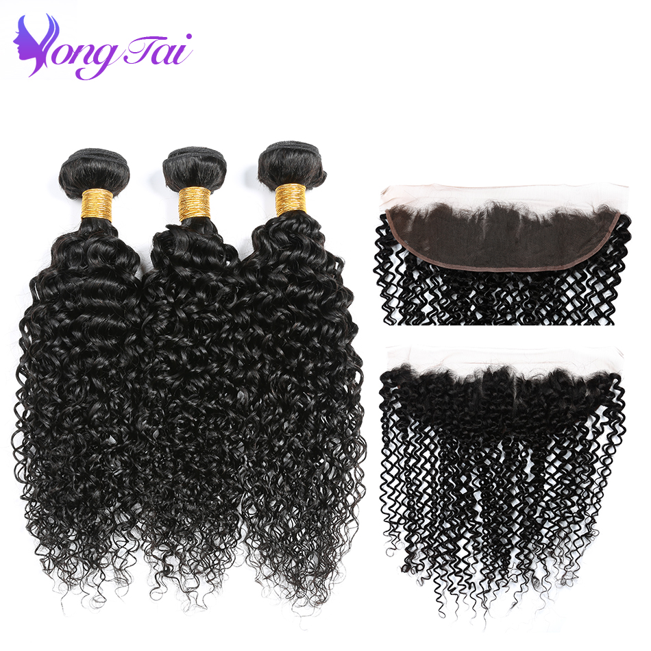 Yongtai Brazilian Hair With 13x4 Lace Frontal Free Part Kinky Curly 3 Bundles Human Hair Weave Natural Black Non-remy No Tangle