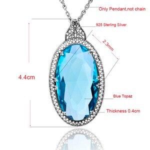 Image 5 - Винтажный большой кулон ручной работы большой лабораторный топаз камень Настоящее серебро 925 пробы массивное ожерелье женское непальское серебро славянские ювелирные изделия