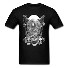 Fashionable Top T-shirts 2018 Brand New Summer Tees Quality Clothing Streetwear Natural Cotton Black T Shirts For Man Skull