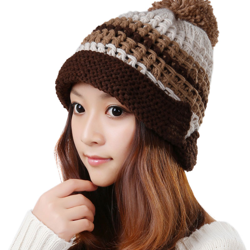 BomHCS Trendy Fashion Curling Mosaic Color Winter Warm Women Knitted Hat Lady Beautiful Handmade Beanie Ear Muff Cap Hats bomhcs women autumn winter warm handmade knitted beanie hat cute lady girl ear muff cap