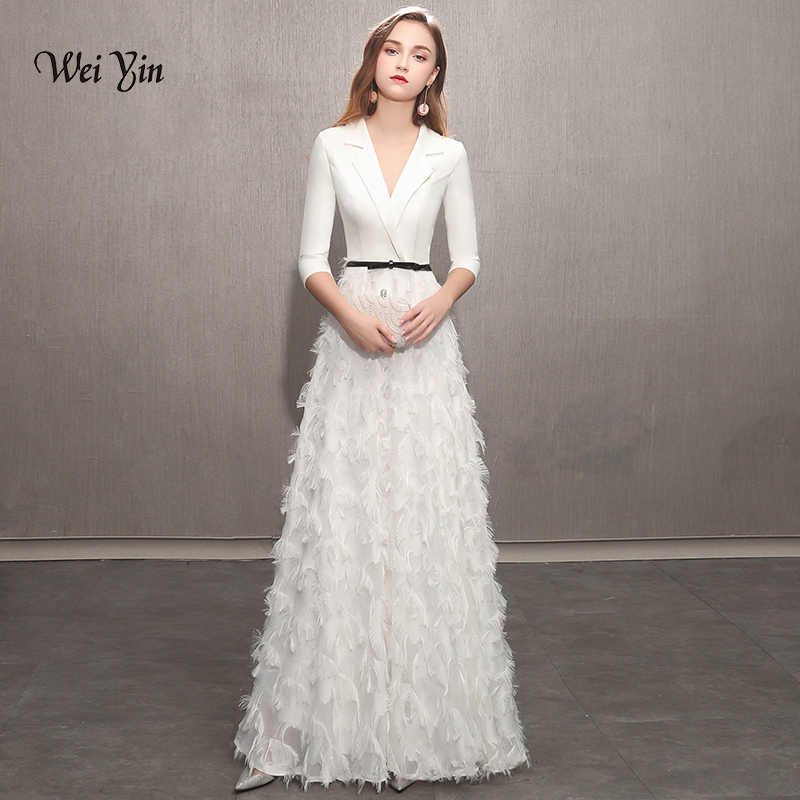 cd60a3b5bc4 weiyin White Evening Dresses 2019 Elegant Lace Evening Gowns Long Formal  Evening Dress Styles Women Prom