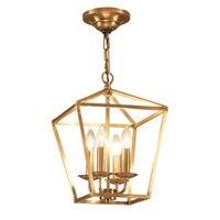 Diamond style copper brass golden hanging chain pendant light lamp bird cage nest dinning living room golden pendant lamp light