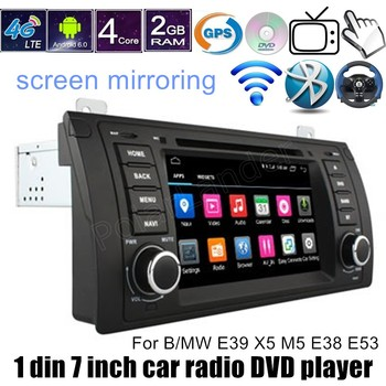 Android 6.0 7 Inch 1 DIN 1024*600 Car GPS DVD Player For BMW E39 X5 M5 E38 E53 steering wheel control Bluetooth