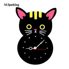 M.Sparkling child room decor wall clock creative black cat design clocks acrylic cartoon cute for kids and children