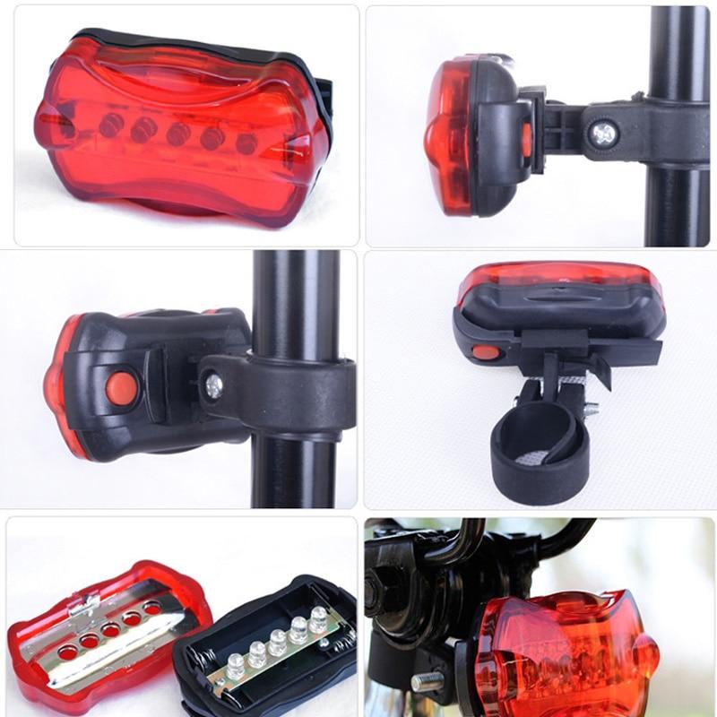 Multifunction 5 LED Lamp Bike Bicycle Front Head Light Rear Waterproof Safety Flashlight Kits JT-Drop Ship