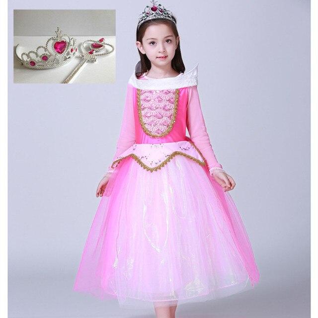 e6fd52306 Kids Girl Sleeping Beauty Princess Aurora Fancy Pink Dress Long Sleeve  Holiday Christmas Costume Children Show Sc 1 St AliExpress.com