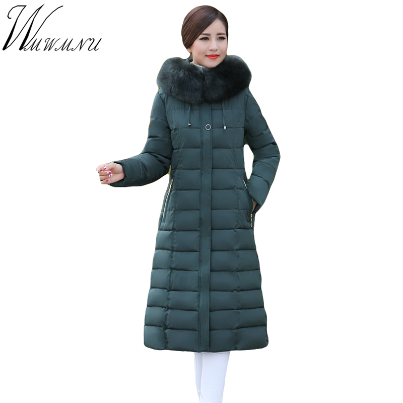 Wmwmnu women winter long parkas hooded slim jacket fashion women warm fur collar coat cotton padded Female Overcoat plus size women winter cotton padded jacket warm slim parkas long thick coat with fur ball hooded outercoat female overknee hoodies parkas