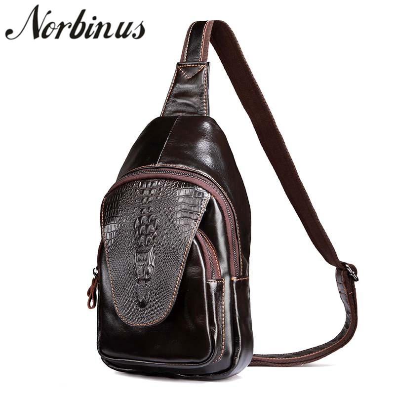 9d43e7c5d6f3 Norbinus Men Sling Bag Genuine Leather Chest Pack Crocodile Messenger  Shoulder Crossbody Bag For Men Travel
