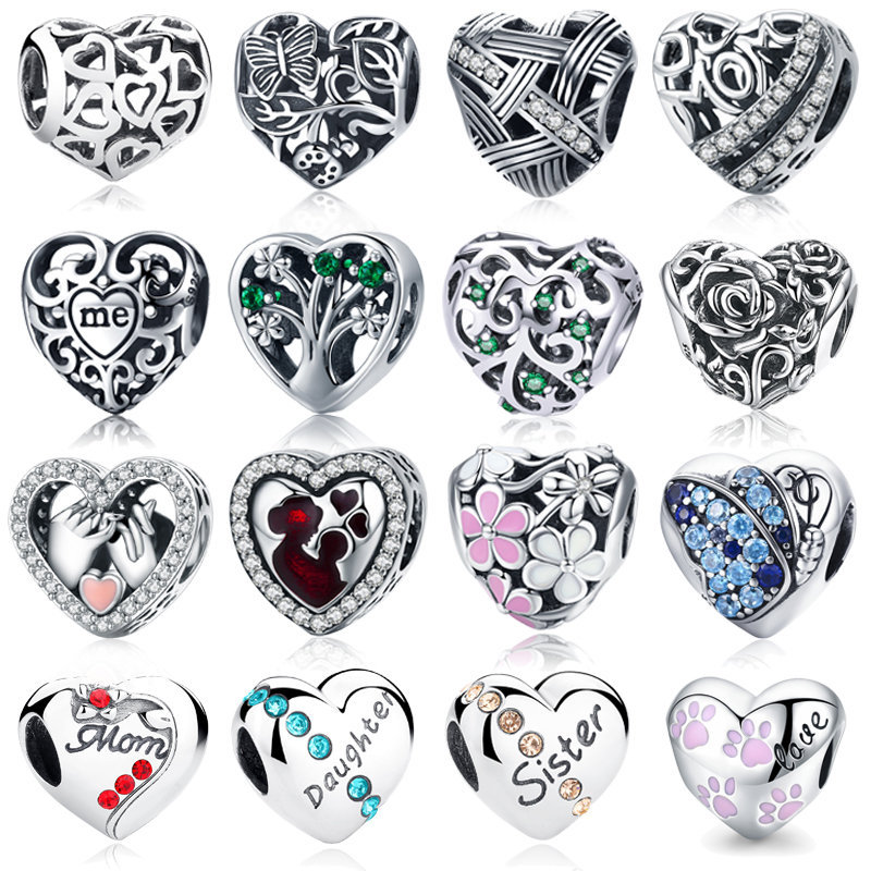 Calvas Authentic 925 Sterling Silver Edelweiss Cat Double Heart Daisies Flowers Sky Blue CZ Charm Bead Fit Brand Bracelet Jewelry Color: 1
