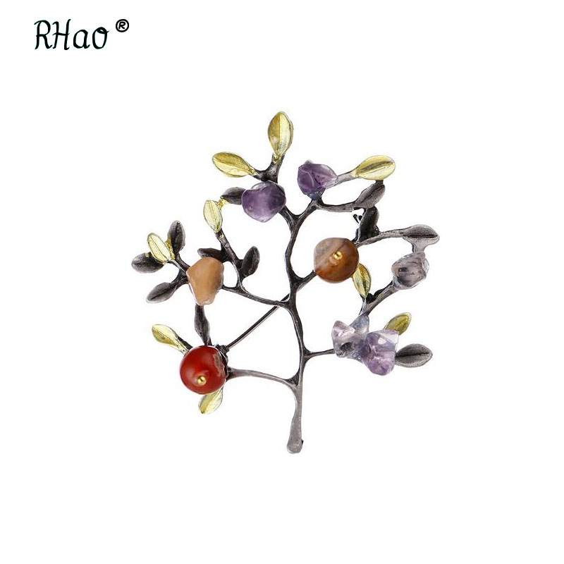 Vintage orange Natural Stone Brooch Pendant Retro Tree Shape Imitation Pearl Pins Brooches Jewelry for Women Christmas Gift