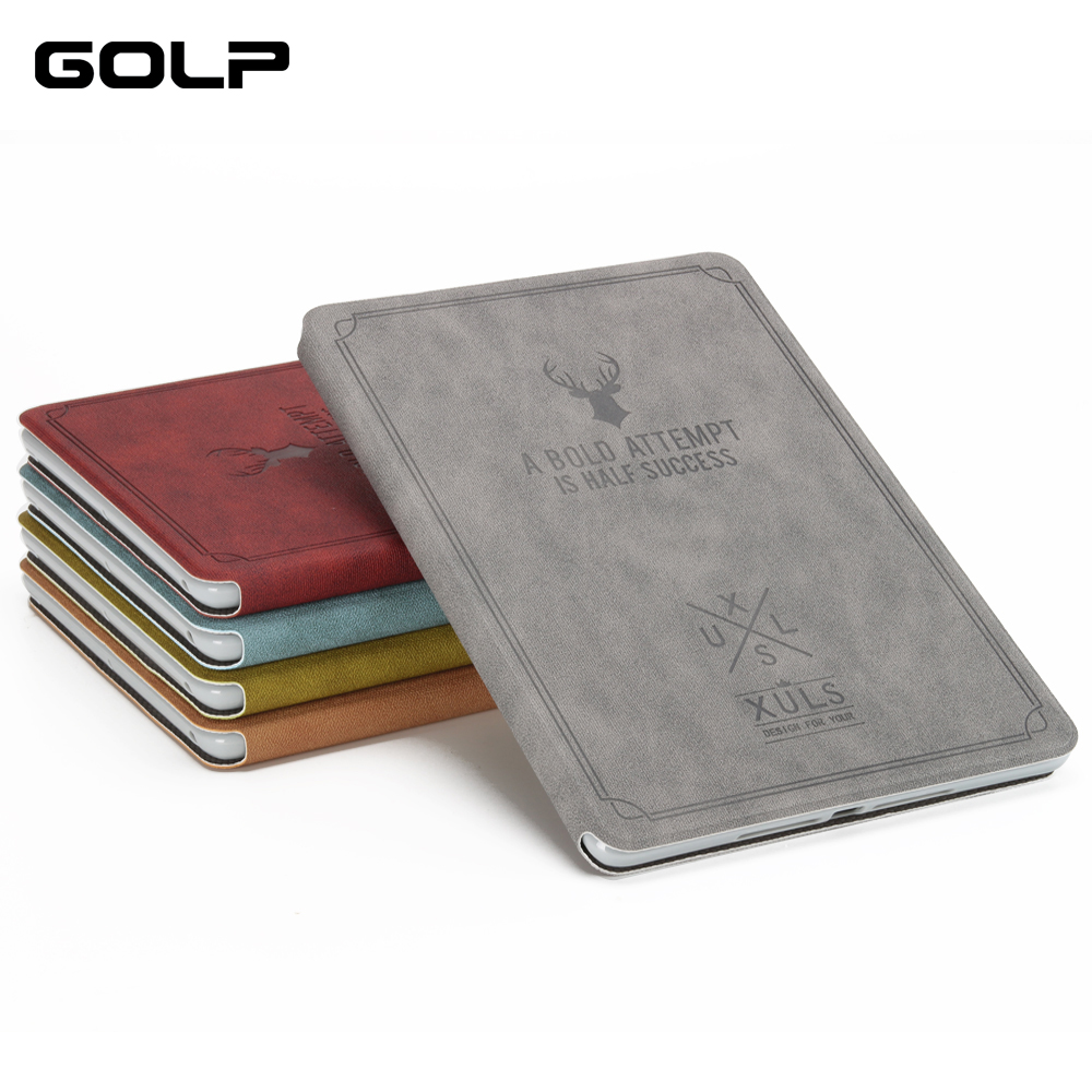 For Ipad Mini Case, GOLP Retro Deer Pattern PU Leather For Ipad Mini 1 2 3 Coque Cover Smart Stand For Ipad Mini 2