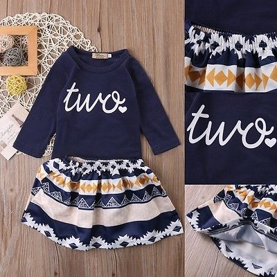 Toddler Kids Baby Girls Outfits Clothes T-shirt Tops + Skirt Dress 2PCS Clothes Sets New