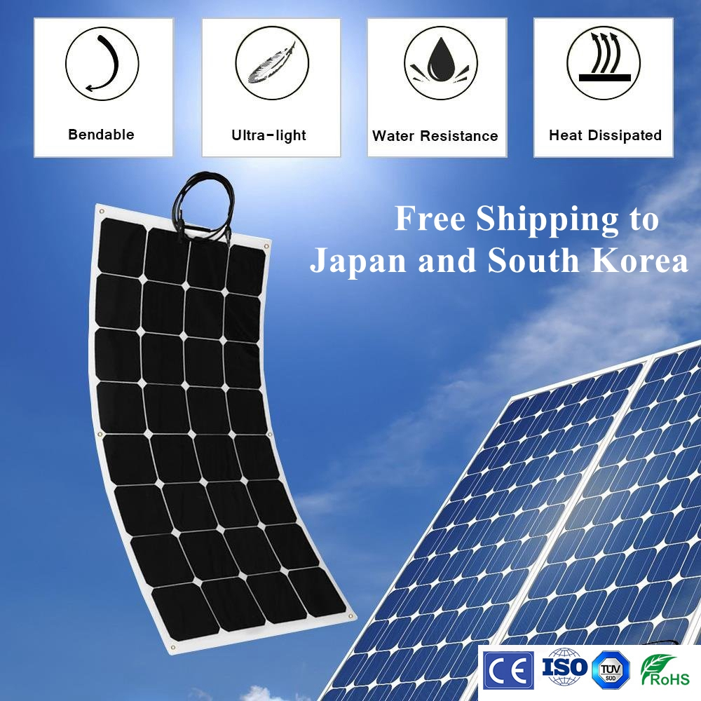 Sunpower 100W flexible Solar Panel for fishing boat car RV 12V solar panel module system kits battery solar charger 110w 12v flexible solar panel diy battery system sunpower solar cells charger for rv boat car with 1 5m cable 1180mmx540mm