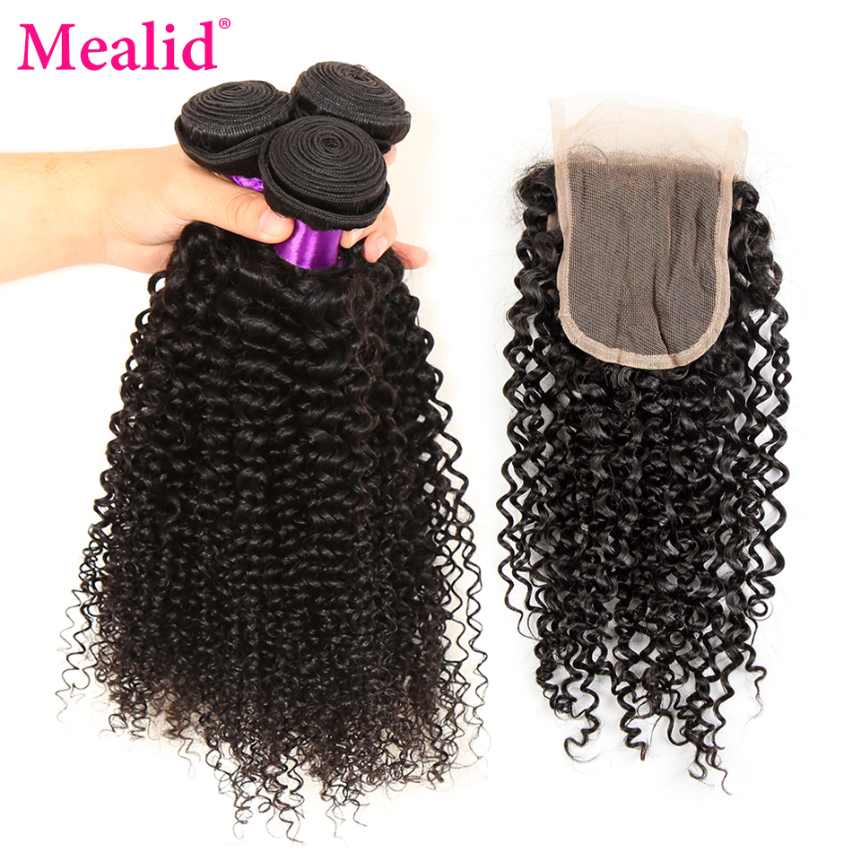 Mealid Brazilian Hair Weaving Kinky Curly Bundles With Closure Non-Remy 3 Bundles With Closure Natural Color Human Hair Weave