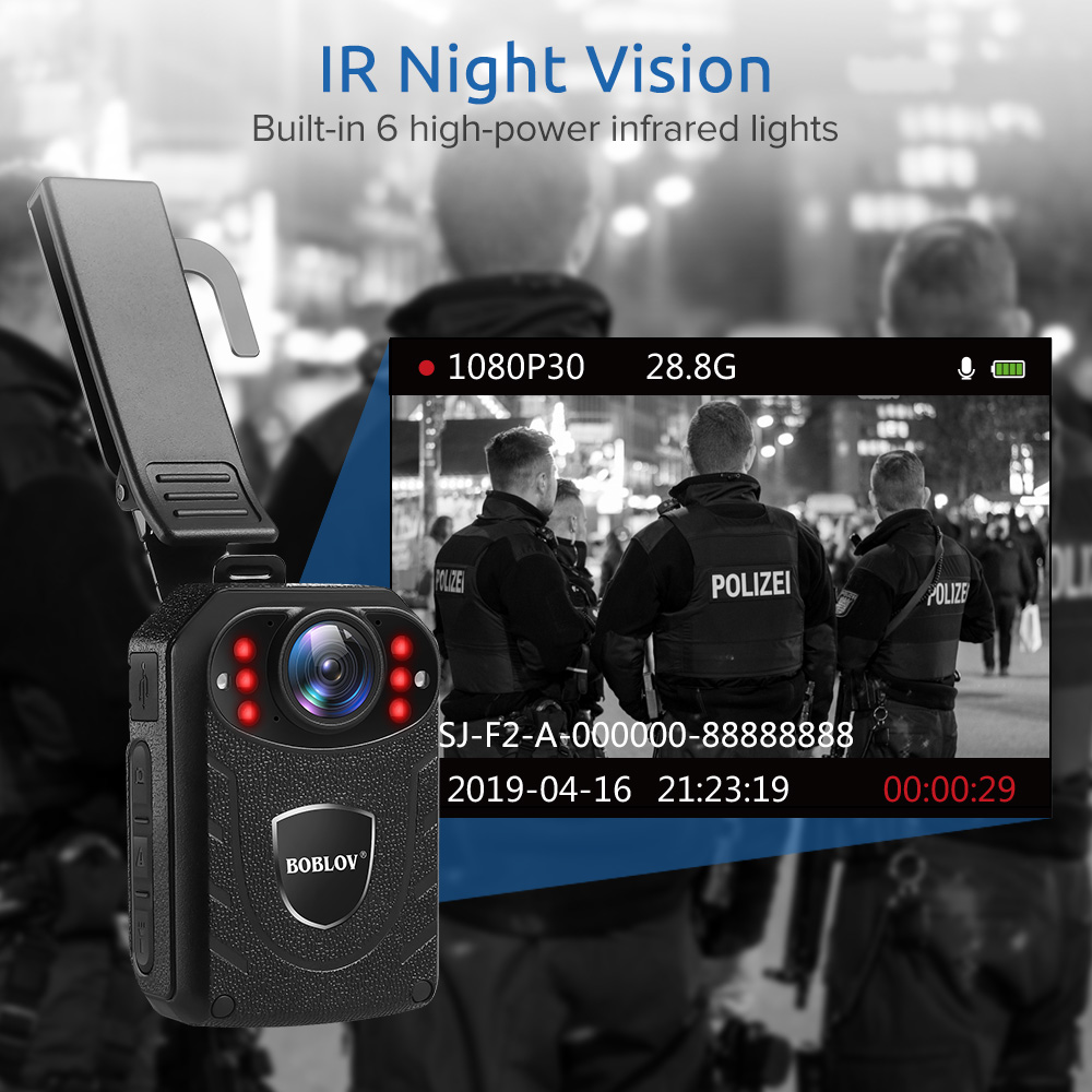 BOBLOV Wifi Police Camera 64GB F1 Body Kamera 1440P Worn Cameras For Law Enforcement 10H Recording GPS Night Vision DVR Recorder - 4