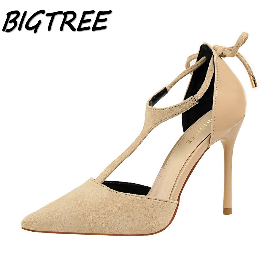BIGTREE summer women pointed toe High heel shoes woman flock pumps Fashion ladies T-strap Sexy stilettos shoes size 34-39 comfy women pointed toe square high heels office shoes woman flock ladies pumps plus size 34 40 black grey high quality