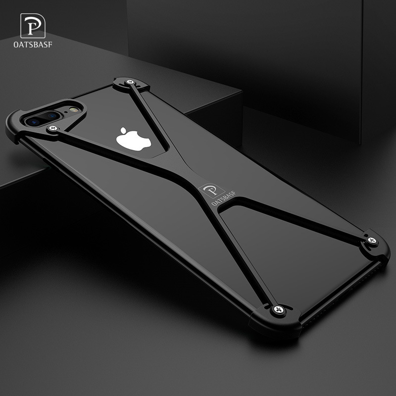 OATSBASF X Shape Case for iPhone 8 Personality Shell for iPhone 8 Plus Metal Border Bumper Phone Case