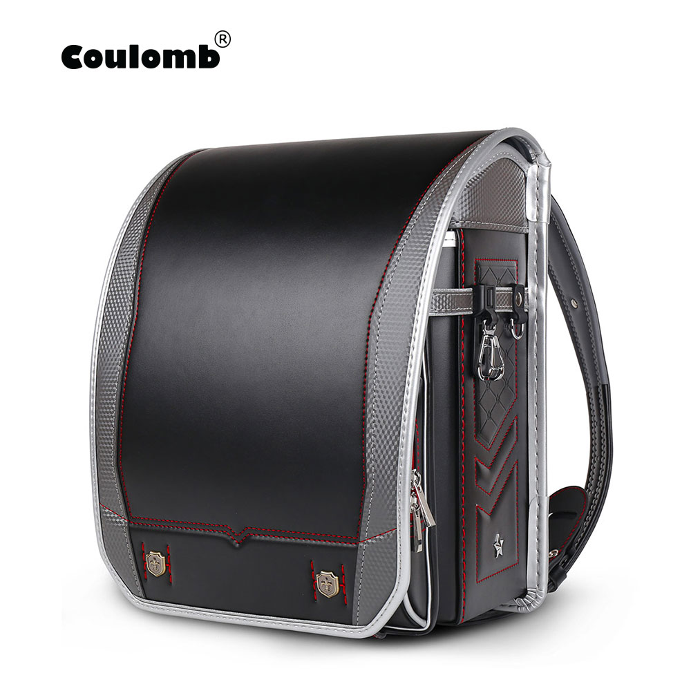 Coulomb Children School Bags For Boys And Girls PU Randoseru Japanese Orthopedic Backpack Mochila Infantil Boy Baby's Bags