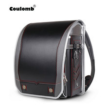 Coulomb Children School Bags For Boys And Girls PU Randoseru Japanese Orthopedic Backpack Mochila Infantil Boy Babys
