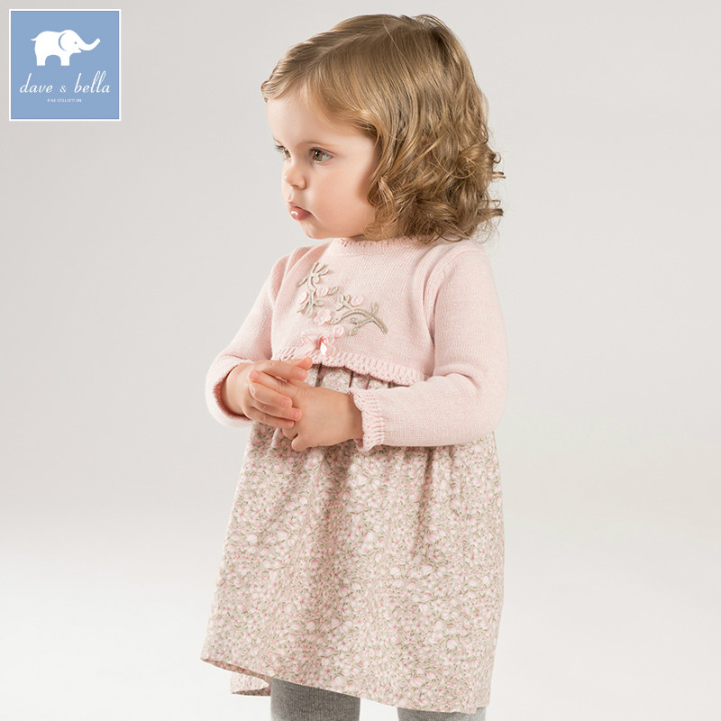 DB8436 dave bella baby autumn Knitted Dress girls pink floral long sleeve dress children party birthday costumes цена