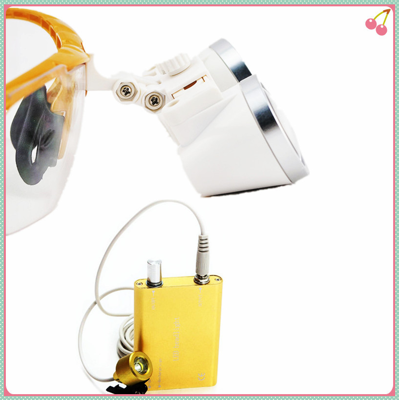 High Quality Yellow magnifying glass 2.5X420 Medical  Surgical loupes Dental Loupes medical loupes head loupes with LED light jessup brushes 15pcs beauty makeup