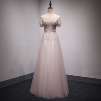 Luxury Evening Dresses 2017 Blush Pink Design Lace Crystal Women Long Party Dress Elegant Formal Gowns