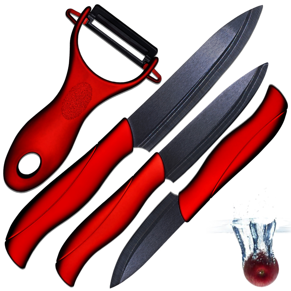 Ceramic knife 3 paring 4 utility 5 slicing knife and one sharp black balde red handle