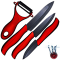 "Ceramic knife 3"" paring 4"" utility 5"" slicing knife and one sharp black balde+red handle peeler accessories kitchen knives set"