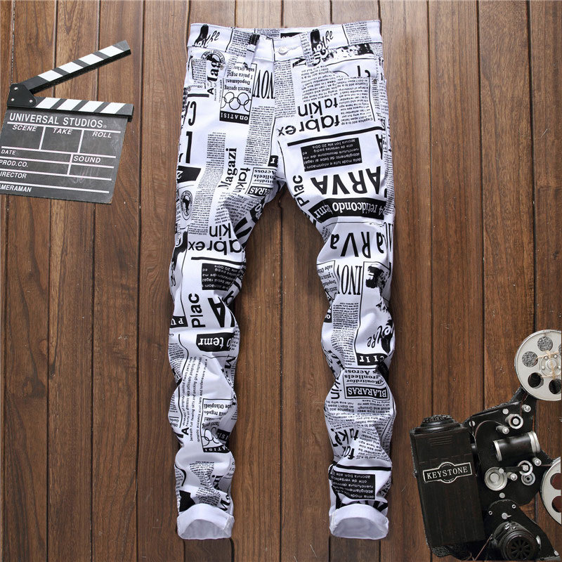 New 2018 printed trousers mens self-cultivation youth long pants fashion pants night clubs pants 5011