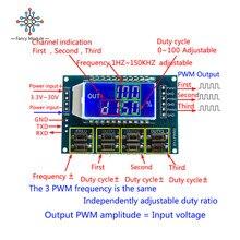 DC 3,3-30 в 3 канала частота 1Hz-150 кГц рабочий цикл 0-100 Регулируемая метр ШИМ генератор сигналов с ЖК-дисплеем