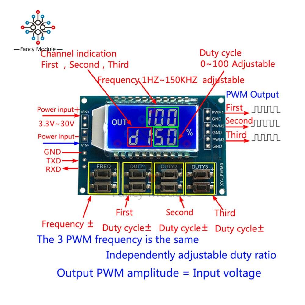 DC 3.3-30 V 3 canaux fréquence 1Hz-150 KHz Cycle d'utilisation 0-100 compteur réglable PWM générateur de Signal avec écran LCD