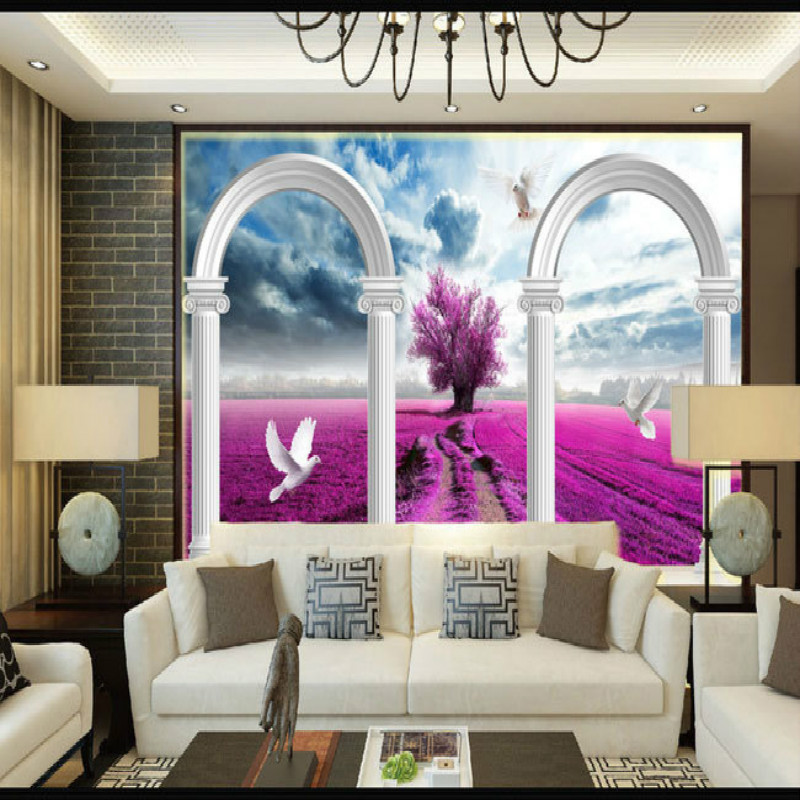mural living room bedroom study paper 3D wallpaper fantasy landscape Roman 3d stereo TV backdrop home improvement wallpaper