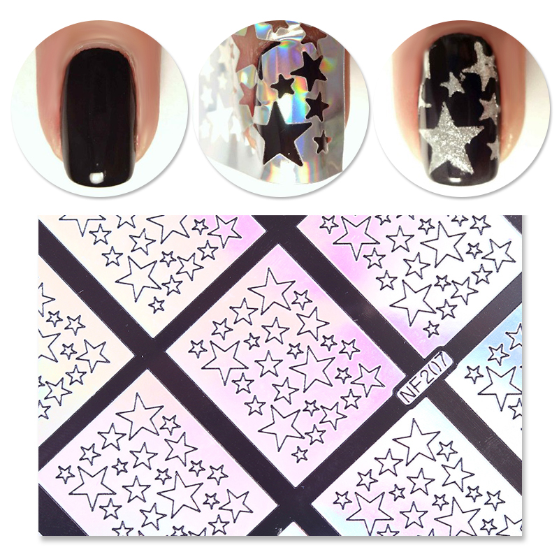9 Tips/Sheet Laser Star Nail Vinyls Nail Stencils Hollow Nail Sticker Nail Art Tools for DIY NF207 #23872 3 designs in 1 sheet laser vinyls nail hollow sticker gold grid irregular patterns tips tool for nail art stencil manicure sa350