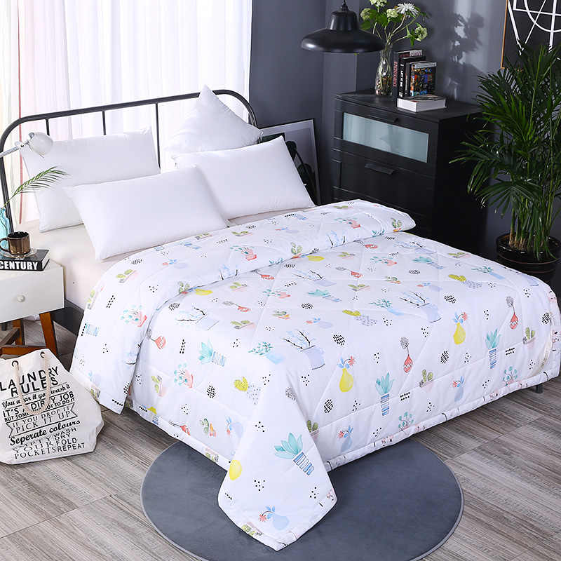 Luxury cotton Summer Quilts twin single queen Blankets High quality Bed Cover Children Adults duvet soft white plant Comforters