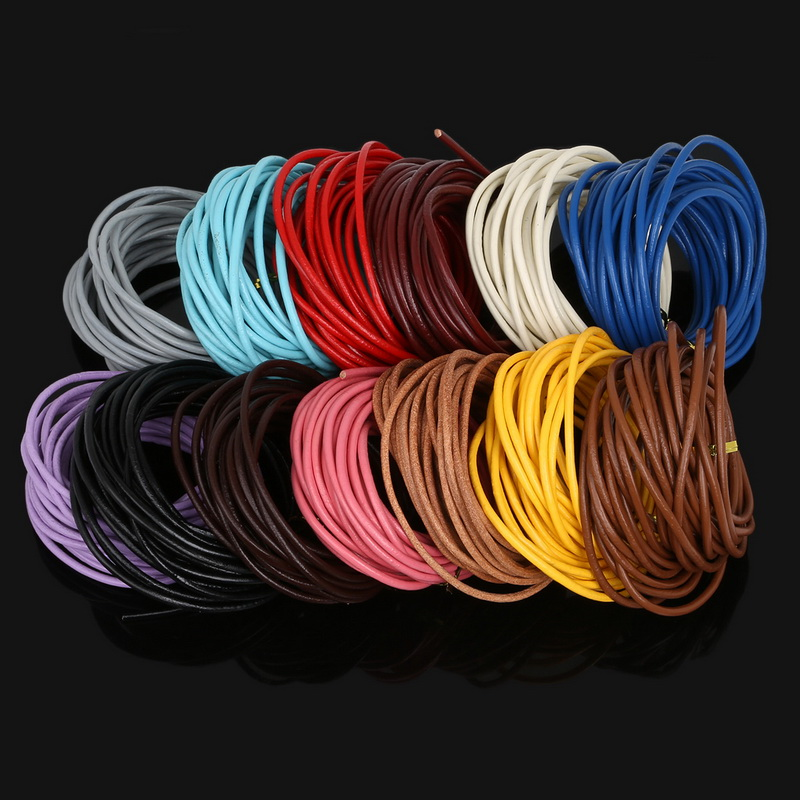 3mm 5 Meters Round Brown/Blue/Purple Genuine Leather Cord Rope String For Bracelet Necklace Making DIY Handmade Craft