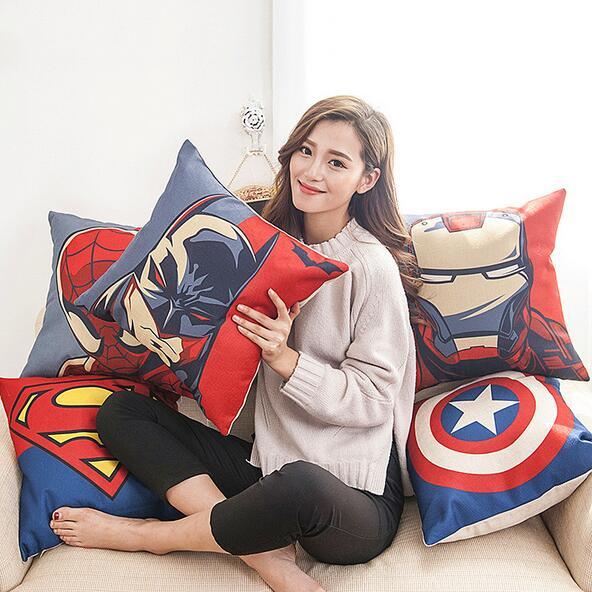 Квадратная декоративная Классическая Подушка с героями мультфильмов Марвел, наволочка Супермена, Железного человека, льняная наволочка 45*...