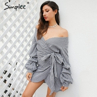 Simplee Off Shoulder Plaid Wrap Sexy Dress Elegant Long Lantern Sleeve Bow Belt Short Dress Stripe