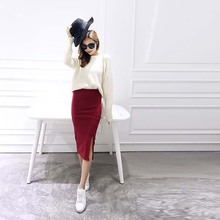 A Little Thick 2016 Autumn Sexy Chic Pencil Skirts Office Look Natural Waist Mid-Calf Solid Skirt Casual Slim Hip Placketing