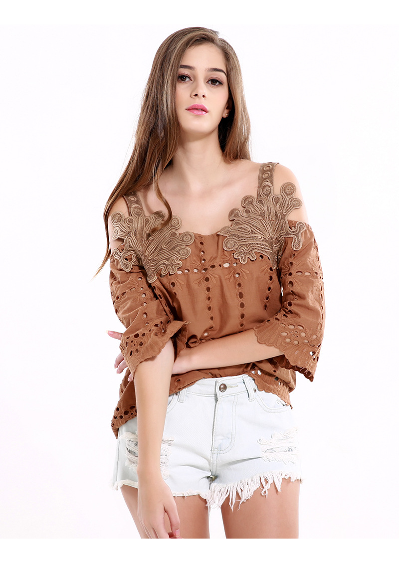 Women Top Hollow Out Lace Blouse Off Shoulder tank Geometry Cool Blouse 2018 Spring Flare Sleeve Tassel Fringe Blusa Camis